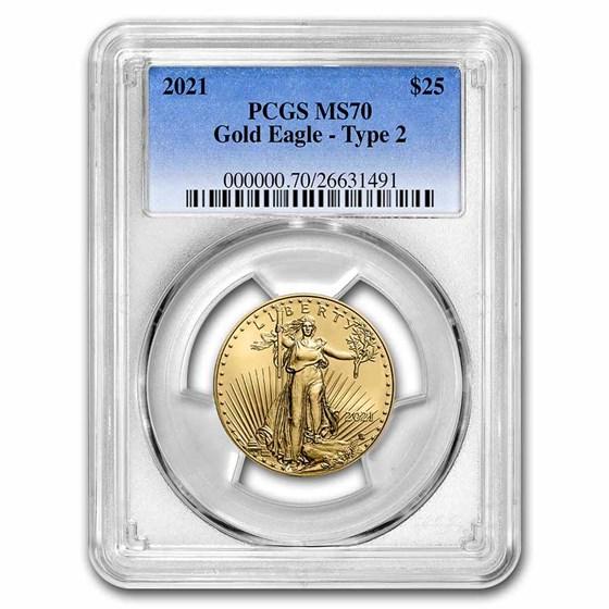 2021 1/2 oz Gold Eagle (Type 2) MS-70 PCGS