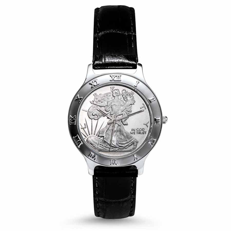 2021 1/2 oz Silver Half Dollar Walking Liberty Leather Band Watch