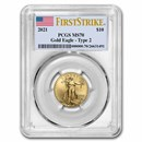 2021 1/4 oz American Gold Eagle MS-70 PCGS (FirstStrike®, Type 2)