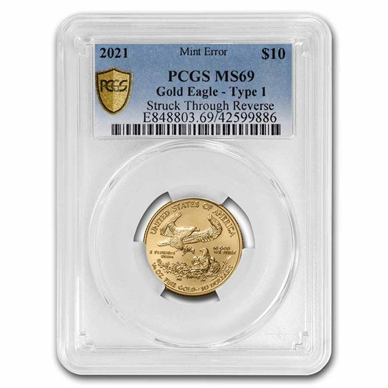 2021 1/4 oz American Gold Eagle (Type 1) MS-69 PCGS (Error)