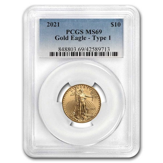 2021 1/4 oz American Gold Eagle (Type 1) MS-69 PCGS