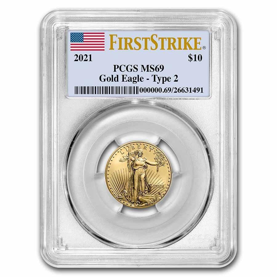 2021 1/4 oz American Gold Eagle (Type 2) MS-69 PCGS (FS®)