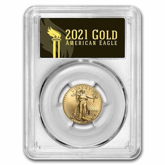 2021 1/4 oz American Gold Eagle (Type 2) MS-70 PCGS (FDI, Black)