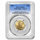 2021 1/4 oz American Gold Eagle (Type 2) MS-70 PCGS