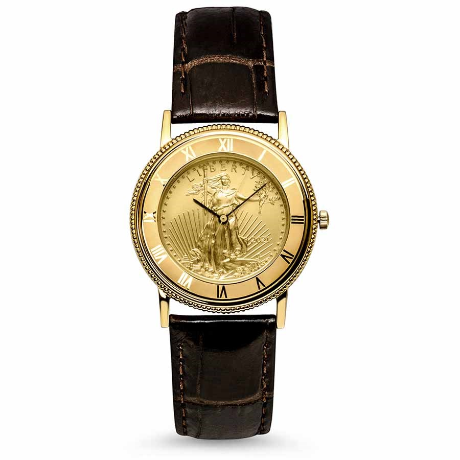2021 1/4 oz Gold American Eagle Leather Band Watch