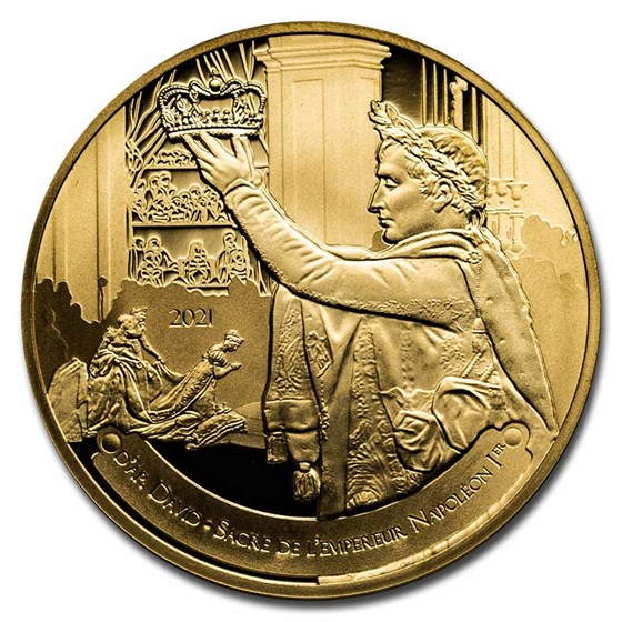 2021 1/4 oz Pf Gold €50 The Louvre (The Coronation by David)