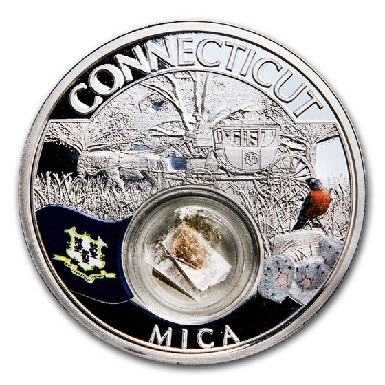 2021 1 oz Ag Treasures of the U.S. Connecticut Mica (Colorized)