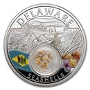 2021 1 oz Ag Treasures of the U.S. Delaware Seashells (Colorized)