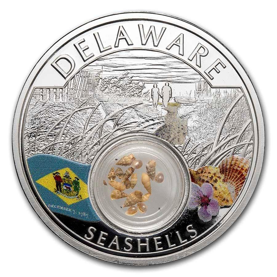 2021 1 oz Ag Treasures of the U.S. Delaware Seashells (Colorized)
