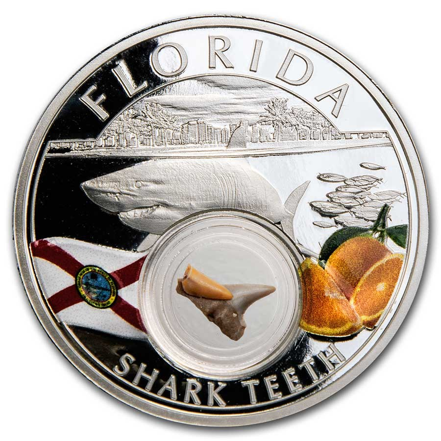 2021 1 oz Ag Treasures of the U.S. Florida Shark Teeth Colorized