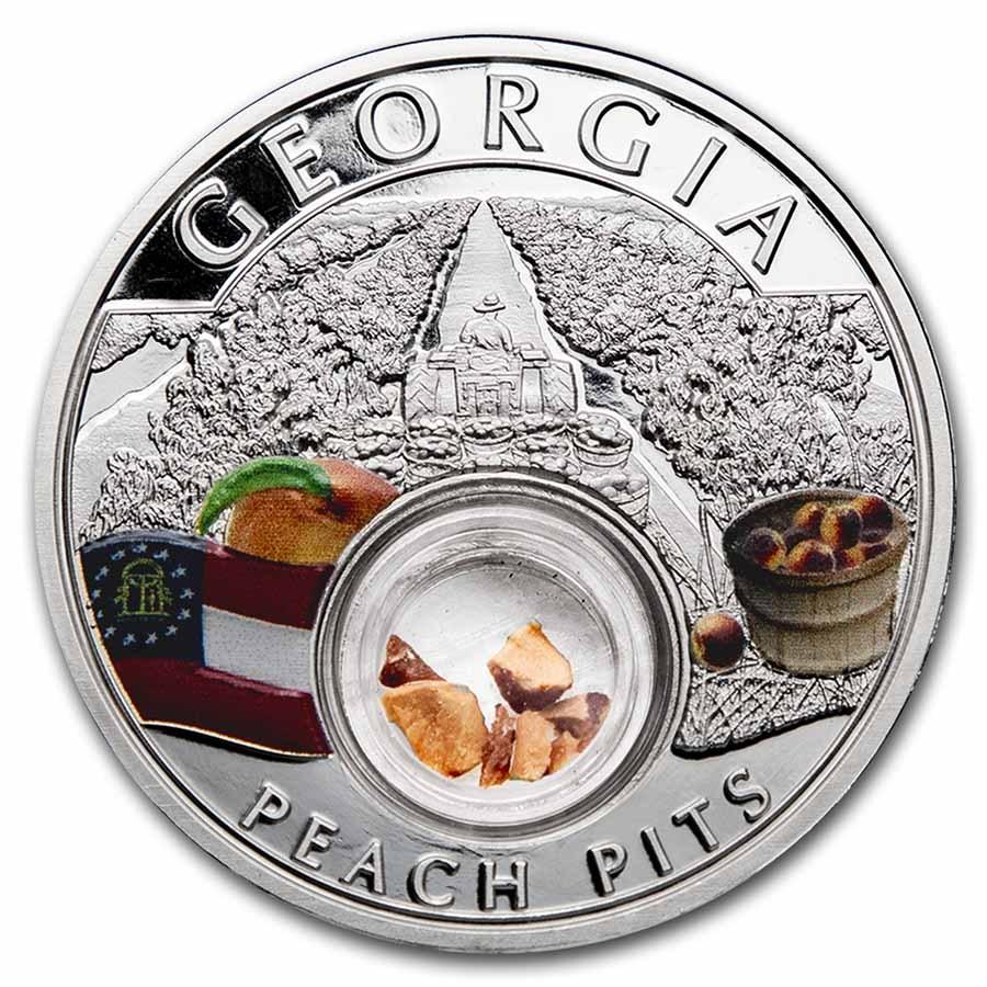 2021 1 oz Ag Treasures of the U.S. Georgia Peach Pits (Colorized)