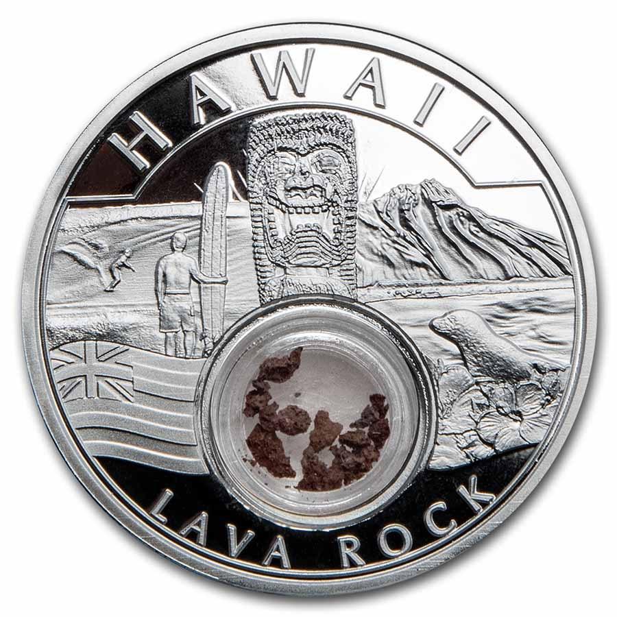 2021 1 oz Ag Treasures of the U.S. Hawaii Lava Rock (Box/COA)