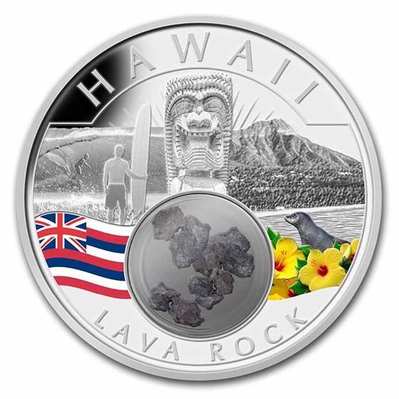 2021 1 oz Ag Treasures of the U.S. Hawaii Lava Rock (Colorized)