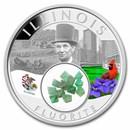 2021 1 oz Ag Treasures of the U.S. Illinois Fluorite (Colorized)