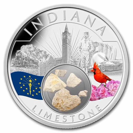 2021 1 oz Ag Treasures of the U.S. Indiana Limestone (Colorized)