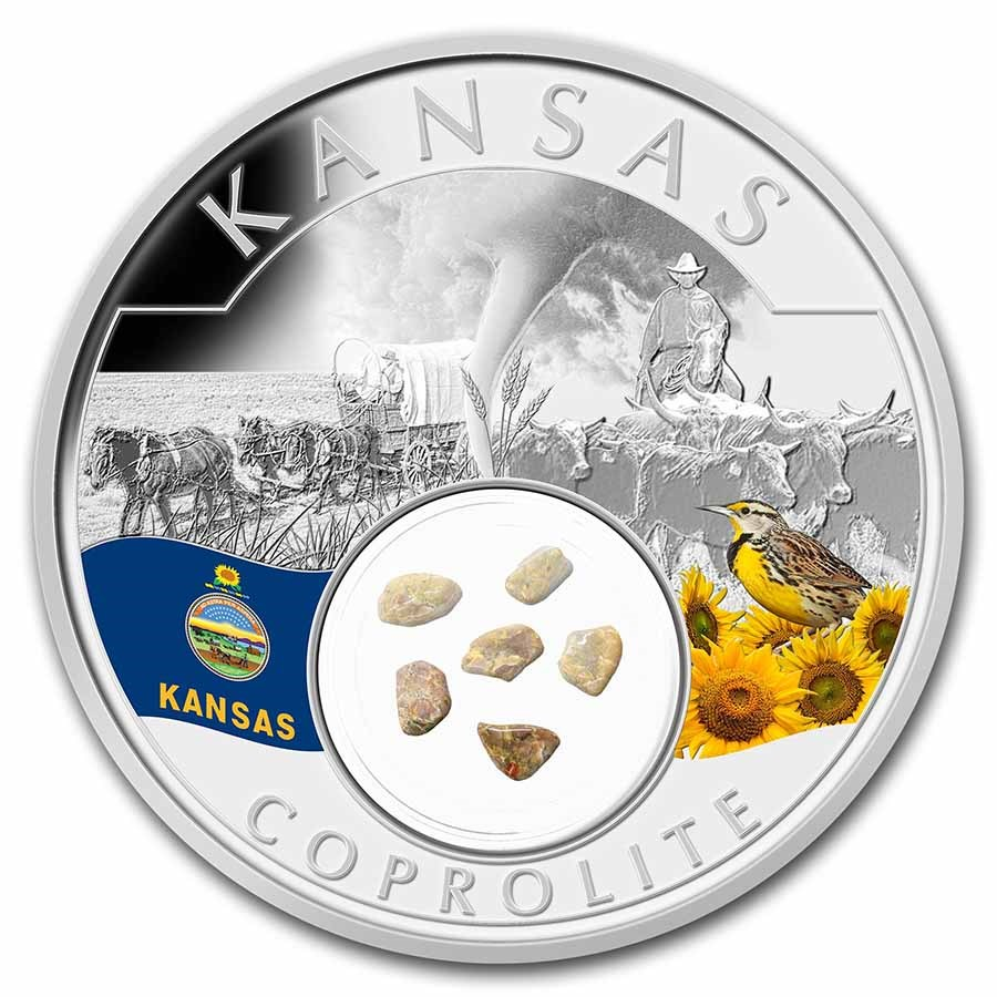 2021 1 oz Ag Treasures of the U.S. Kansas Coprolite (Colorized)