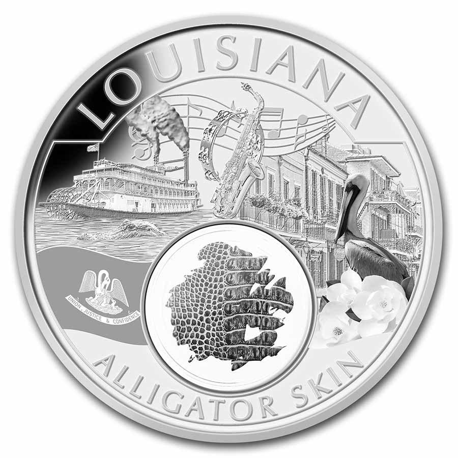 2021 1 oz Ag Treasures of the U.S. Louisiana Alligator Skin