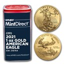 2021 1 oz American Gold Eagle (20-Coin MintDirect® Tube)