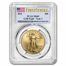 2021 1 oz American Gold Eagle (Type 2) MS-69 PCGS (FirstStrike®)