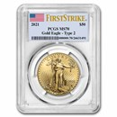 2021 1 oz American Gold Eagle (Type 2) MS-70 PCGS (FirstStrike®)