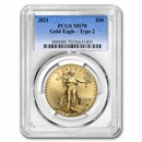 2021 1 oz American Gold Eagle (Type 2) MS-70 PCGS