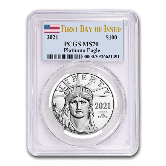2021 1 oz American Platinum Eagle MS-70 PCGS (First Day of Issue)