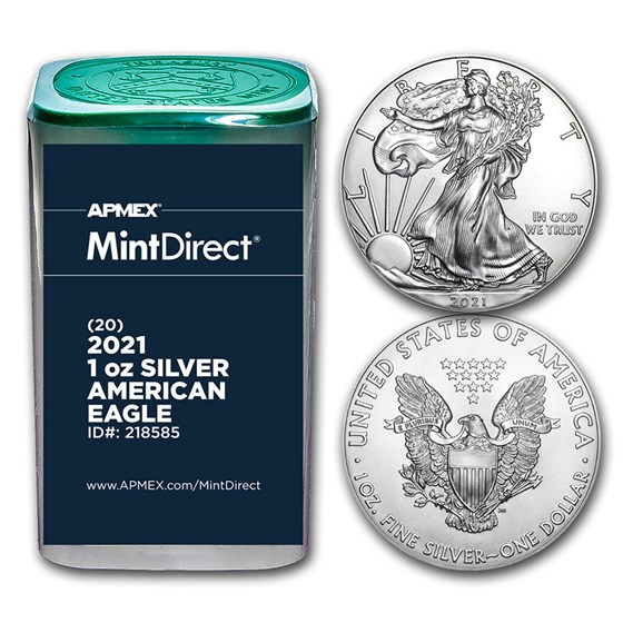 2021 1 oz American Silver Eagles (Type 1) (20-Coin MD® Tube)