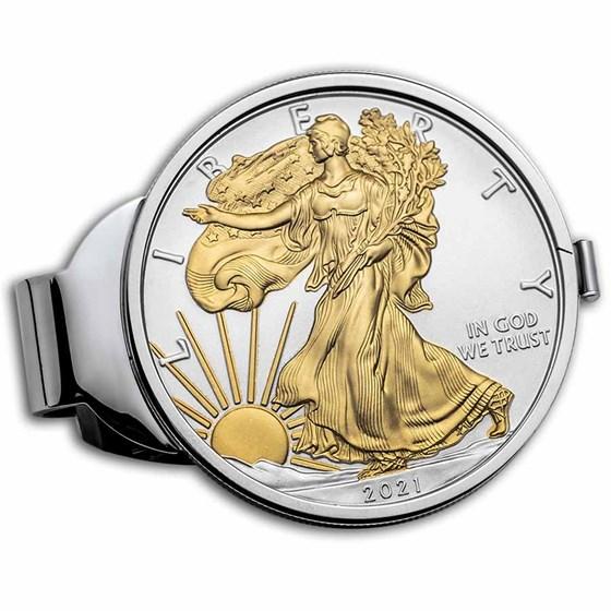 2021 1 oz Gilded Silver American Eagle Money Clip