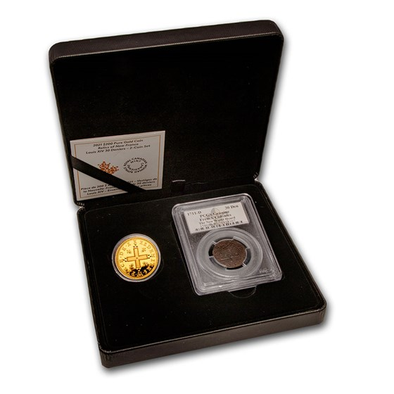 2021 1 oz Gold $200 Relics of New France: Louis XIV 2-Coin Set