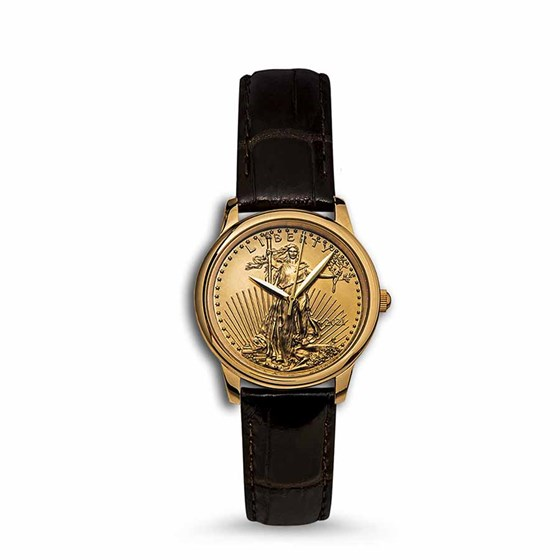 2021 1 oz Gold American Eagle Swiss Made Leather Band Watch
