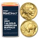 2021 1 oz Gold Buffalo (20-Coin MintDirect® Tube)