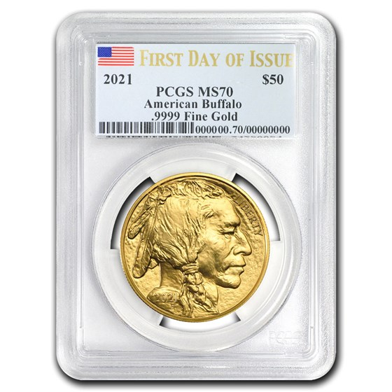 2021 1 oz Gold Buffalo MS-70 PCGS (First Day of Issue)
