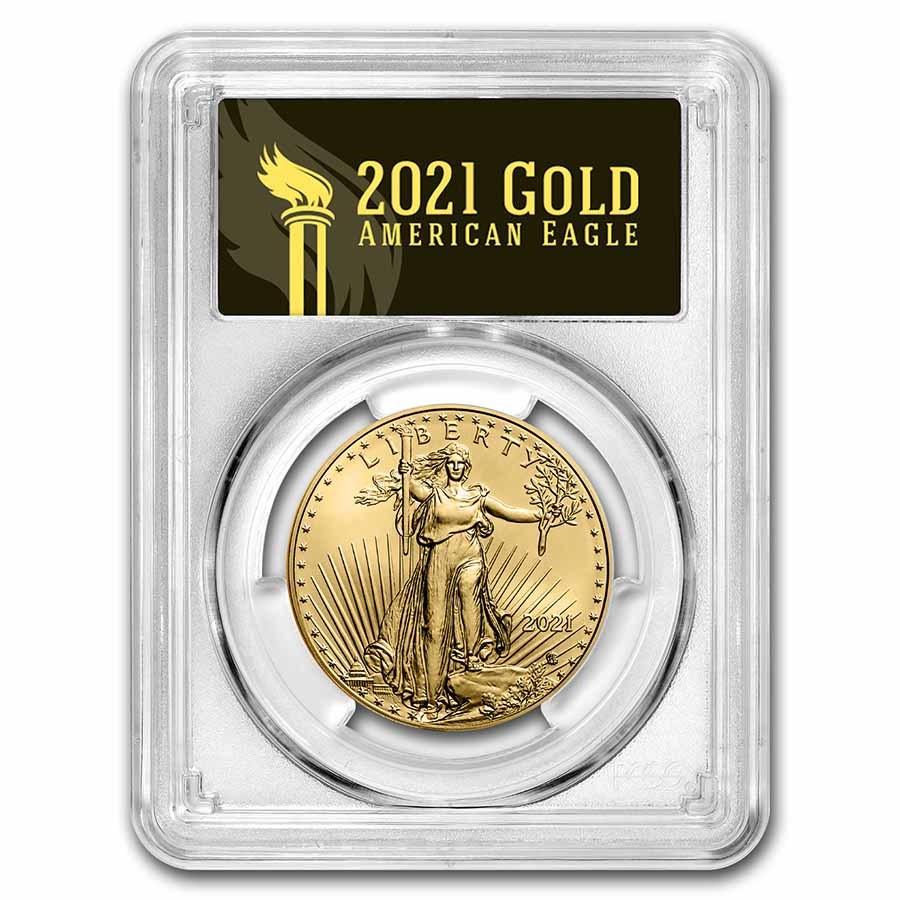 2021 1 oz Gold Eagle MS-70 PCGS (FDI, Black Label, Type 2)
