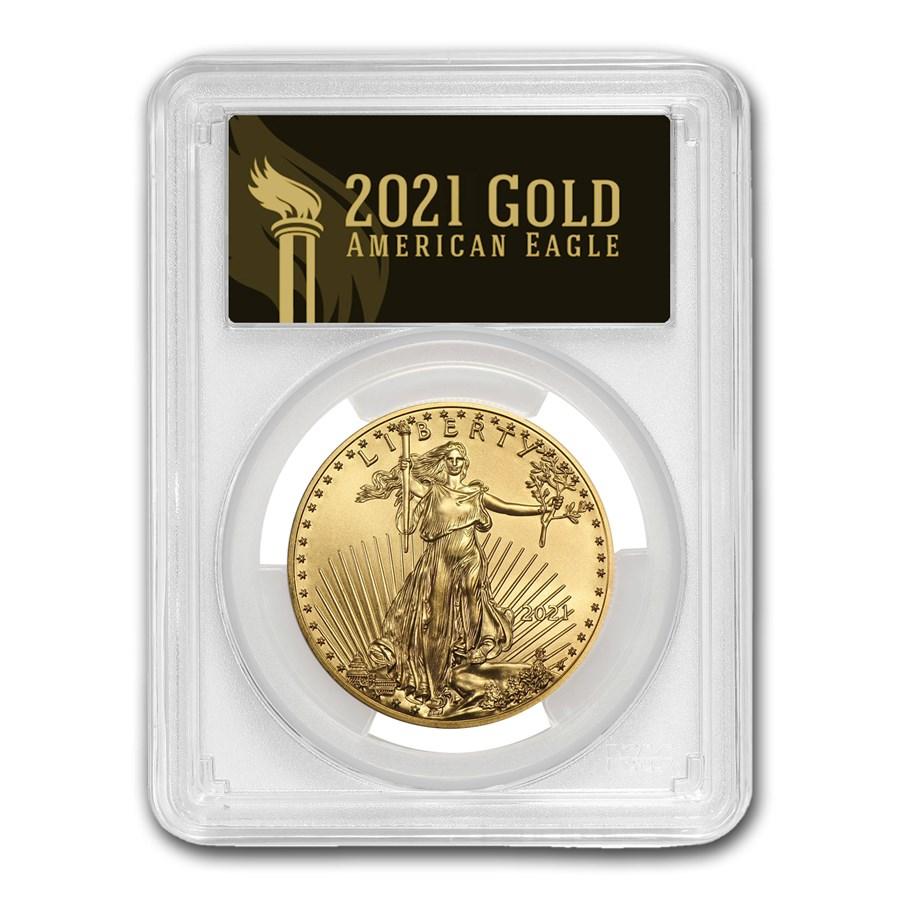 2021 1 oz Gold Eagle MS-70 PCGS (FirstStrike®, Black Label)