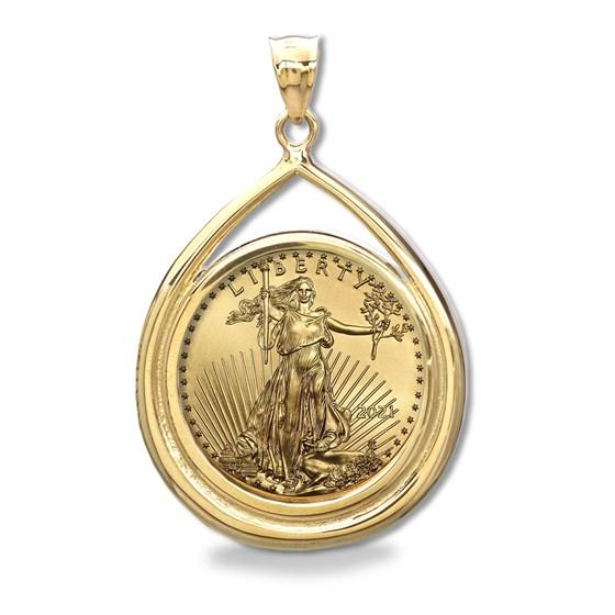 2021 1 oz Gold Eagle Teardrop Pendant (Prong Bezel)