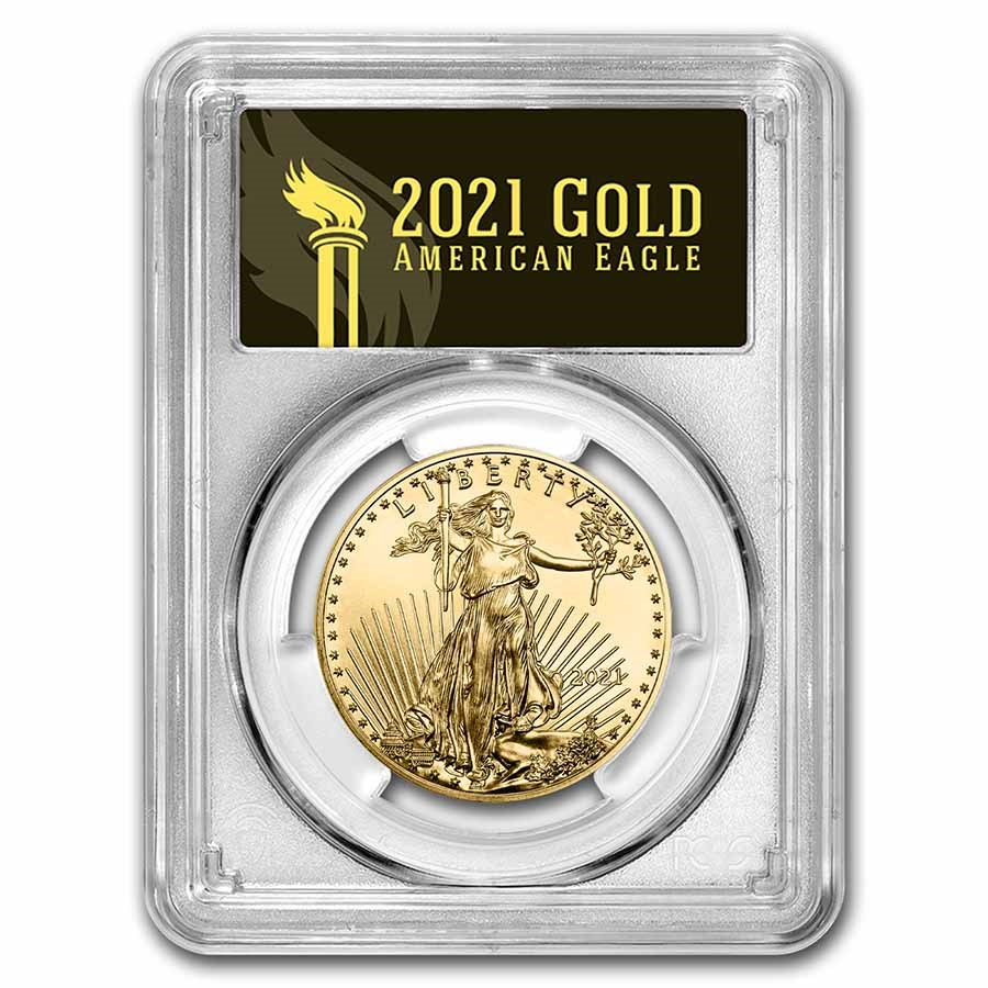 2021 1 oz Gold Eagle (Type 1) MS-70 PCGS (Last Day, Black)