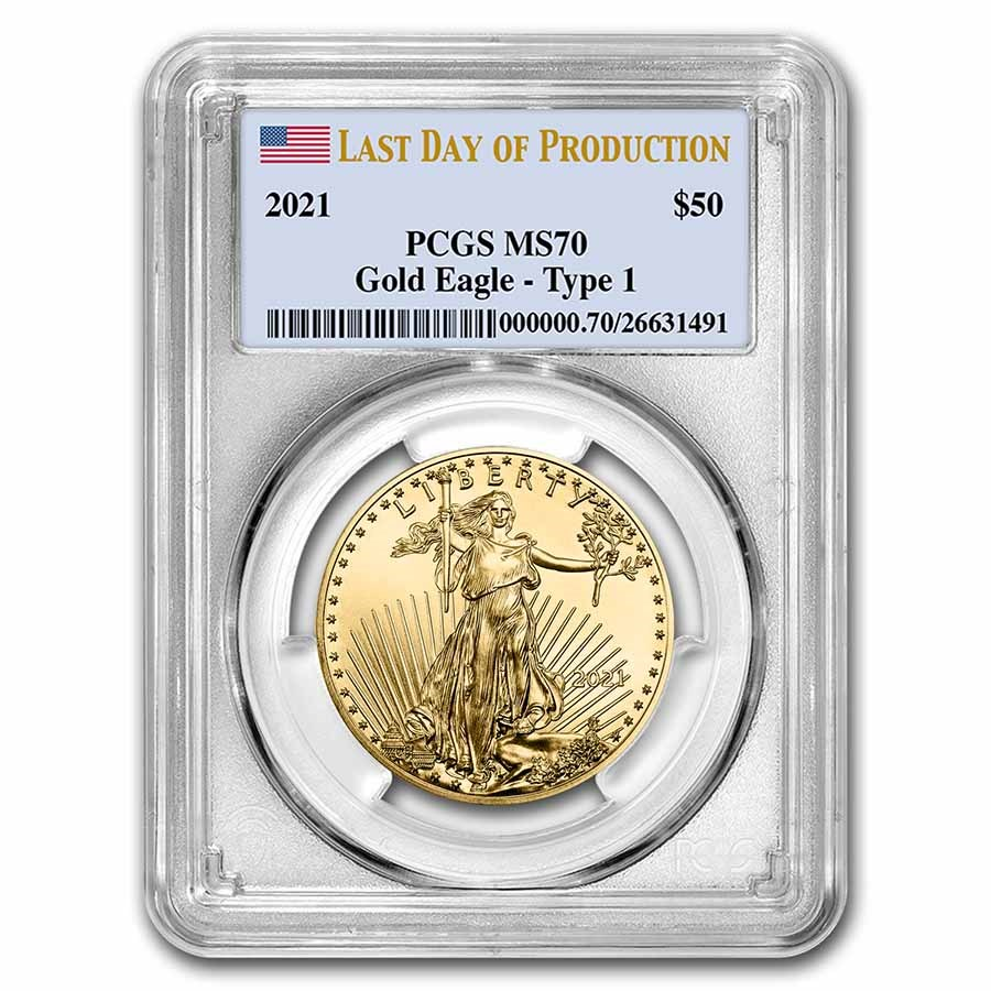 2021 1 oz Gold Eagle (Type 1) MS-70 PCGS (Last Day of Production)