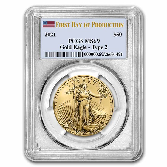2021 1 oz Gold Eagle (Type 2) MS-69 PCGS (First Production)