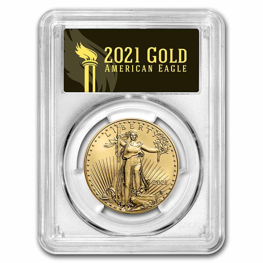 2021 1 oz Gold Eagle (Type 2) MS-70 PCGS (FDI, Black Label)