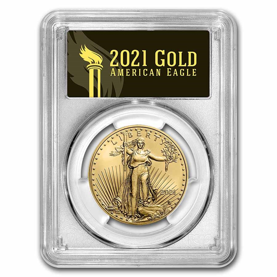 2021 1 oz Gold Eagle (Type 2) MS-70 PCGS (First Day, Black)