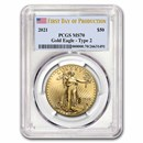 2021 1 oz Gold Eagle (Type 2) MS-70 PCGS (First Production)