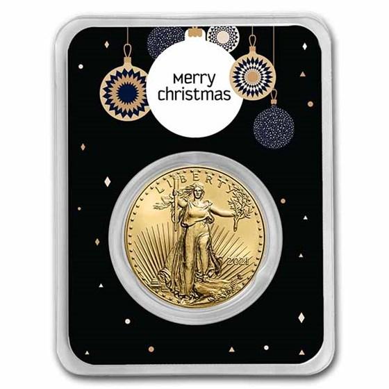 2021 1 oz Gold Eagle Type 2 - w/Elegant Merry Christmas Card