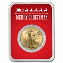 2021 1 oz Gold Eagle Type 2 - w/Red Merry Christmas Card