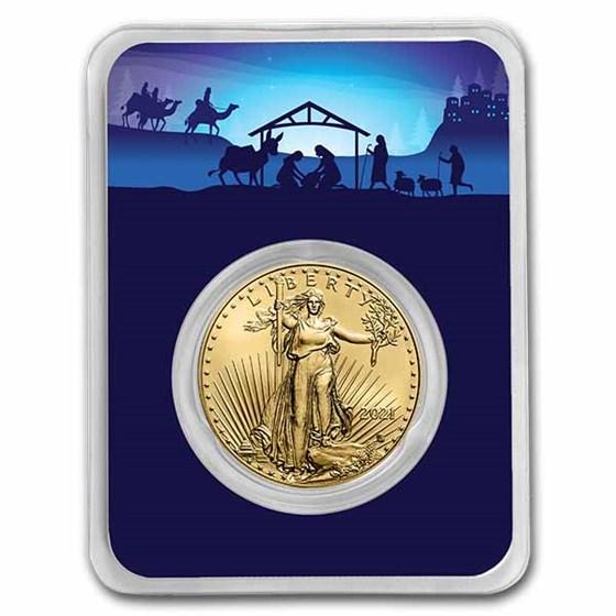 2021 1 oz Gold Eagle Type 2 - w/Starry Night Nativity Card