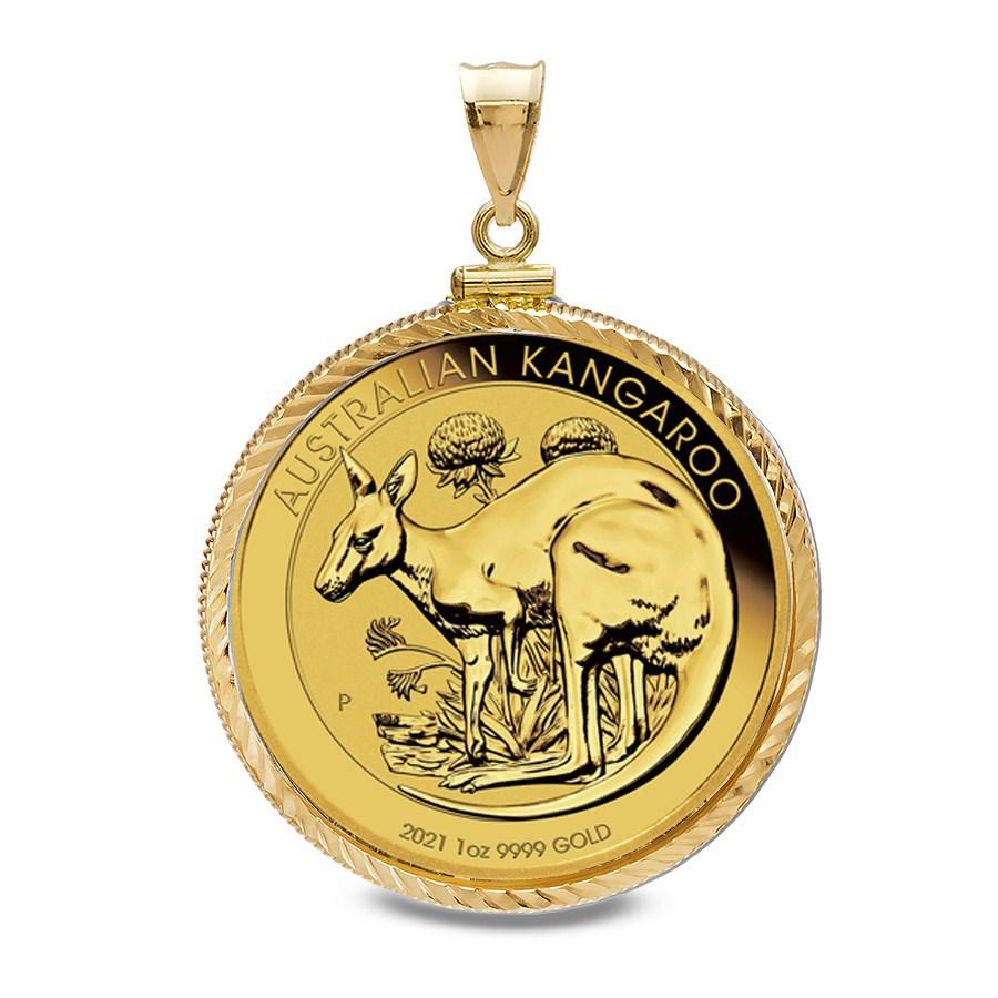 2021 1 oz Gold Kangaroo Pendant (Diamond-ScrewTop Bezel)
