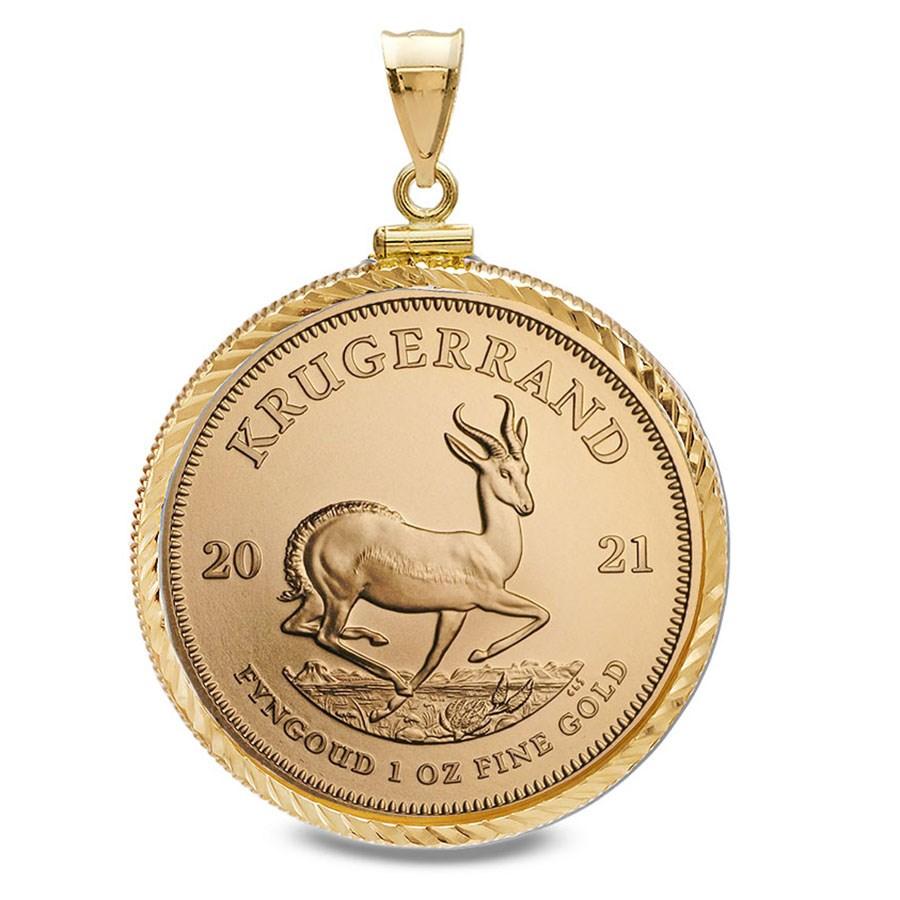2021 1 oz Gold Krugerrand Pendant (Diamond-Screw Top Bezel)