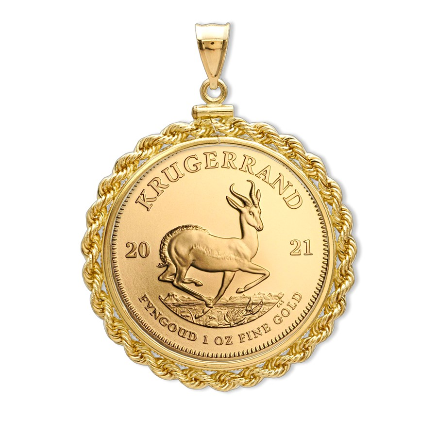2021 1 oz Gold Krugerrand Pendant (Rope-Screw Top Bezel)