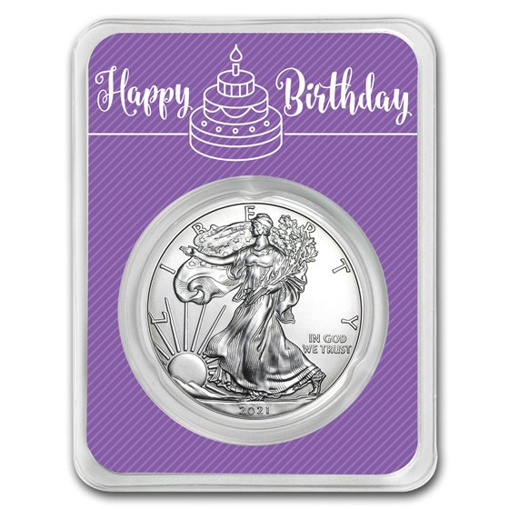 2021 1 oz Silver American Eagle - Birthday Periwinkle