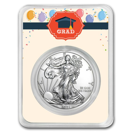 2021 1 oz Silver American Eagle - Graduation Balloons