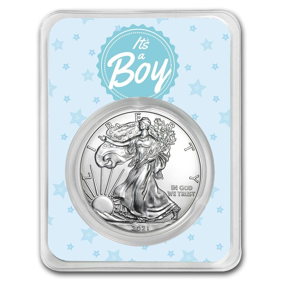 2021 1 oz Silver American Eagle - It's A Boy Stars